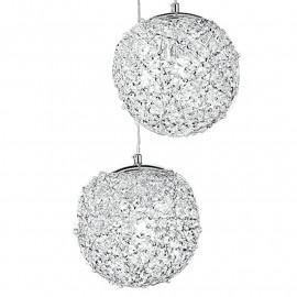 Paralumi Sferici con Decoro Intrecciato da Fili in Alluminio e Cristalli Lampadario Astra