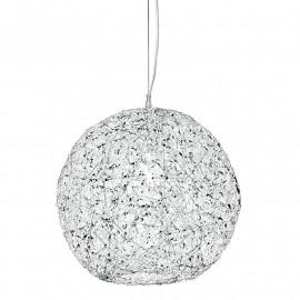 Paralume Sferico con Intreccio a Fili in Alluminio e Cristalli Linea Astra