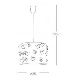 I-BUTTERFLY/S35 - Lampadario Sospensione Circolare Acciao Intaglio Fiori Farfalle Moderno E27