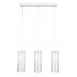 I-BATIK / S3 - Lustre 3 Suspensions Cylindriques Blanc Acier décoration Abstrait Sculpté Moderne E27