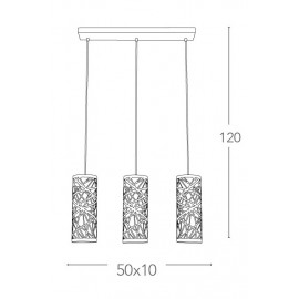 Lampadario Batik 3 Sospensioni Paralumi Cilindrici con Decoro Cromo FanEurope