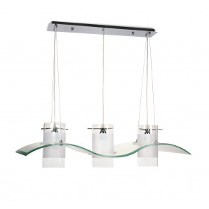 I-32330 - Lustre 3 Suspensions Cylindriques Décoration vague Verre Transparent E27