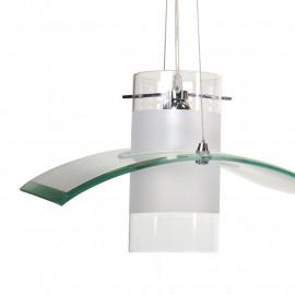 Lustre Medusa 3 lumières diffuseurs cylindriques en verre avec bande blanche et décoration de vague en verre transparent