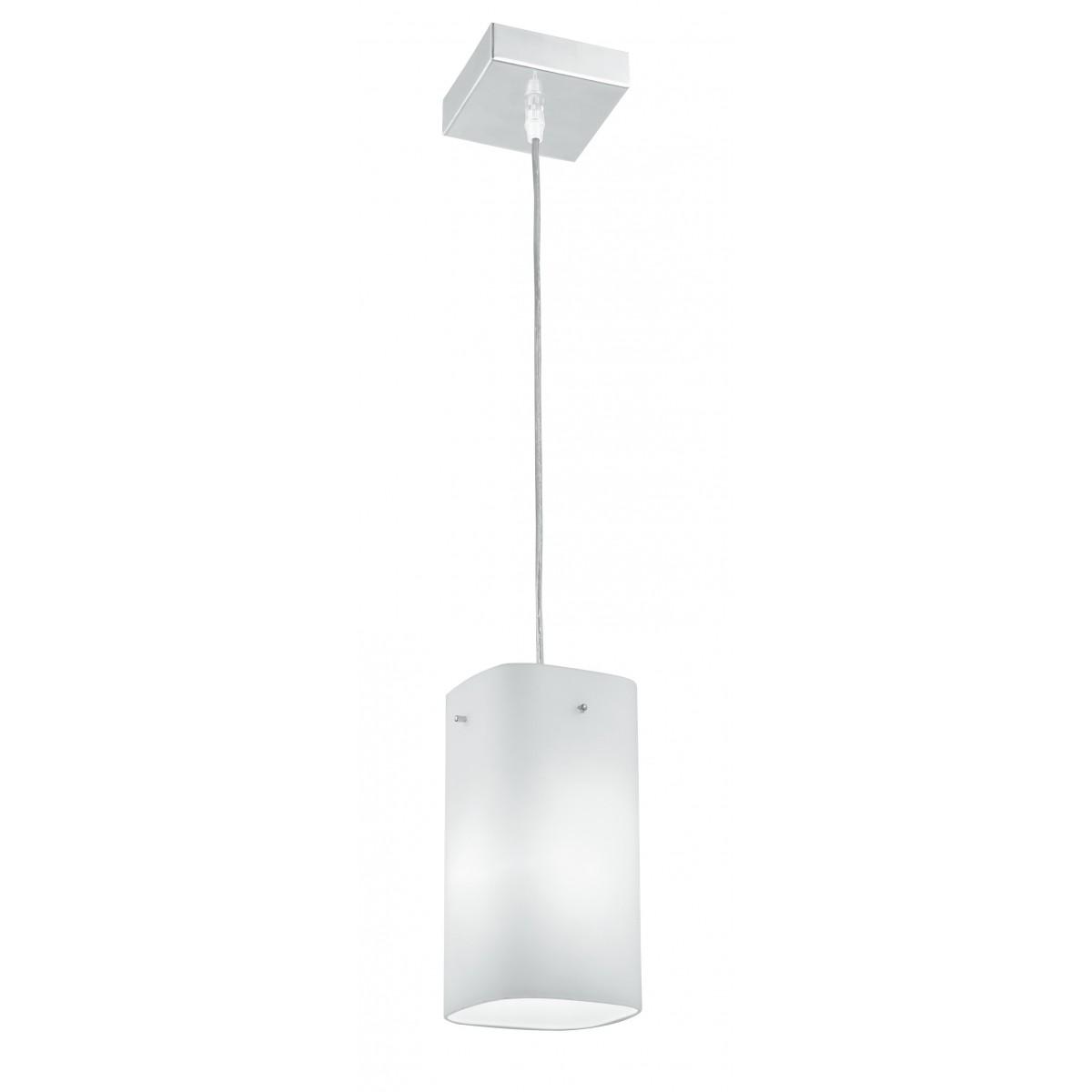 I-SQUARE/S1 - Sospensione paralume Vetro Bianco Metallo Pendente Moderno E27
