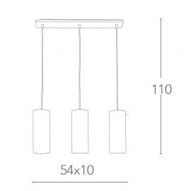 Lustre à suspension en métal Street 3 avec abat-jour cylindrique en verre blanc FanEurope