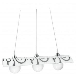 I-SOUND / S3 - Suspension de lustre Décoration abstraite Diffuseur chromé Carreau de verre moderne E27