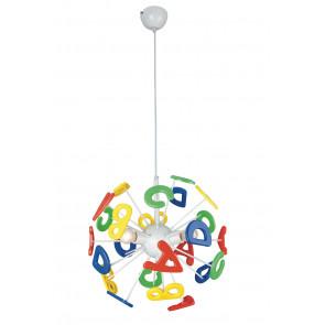 K-LETTERINE / S41 - Lustre en métal acrylique à suspension ronde avec lettres alphabet multicolore pour chambre d'enfants E1
