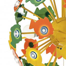 Lustre de surf avec structure en métal jaune avec décoration de poisson en acrylique vert jaune et orange
