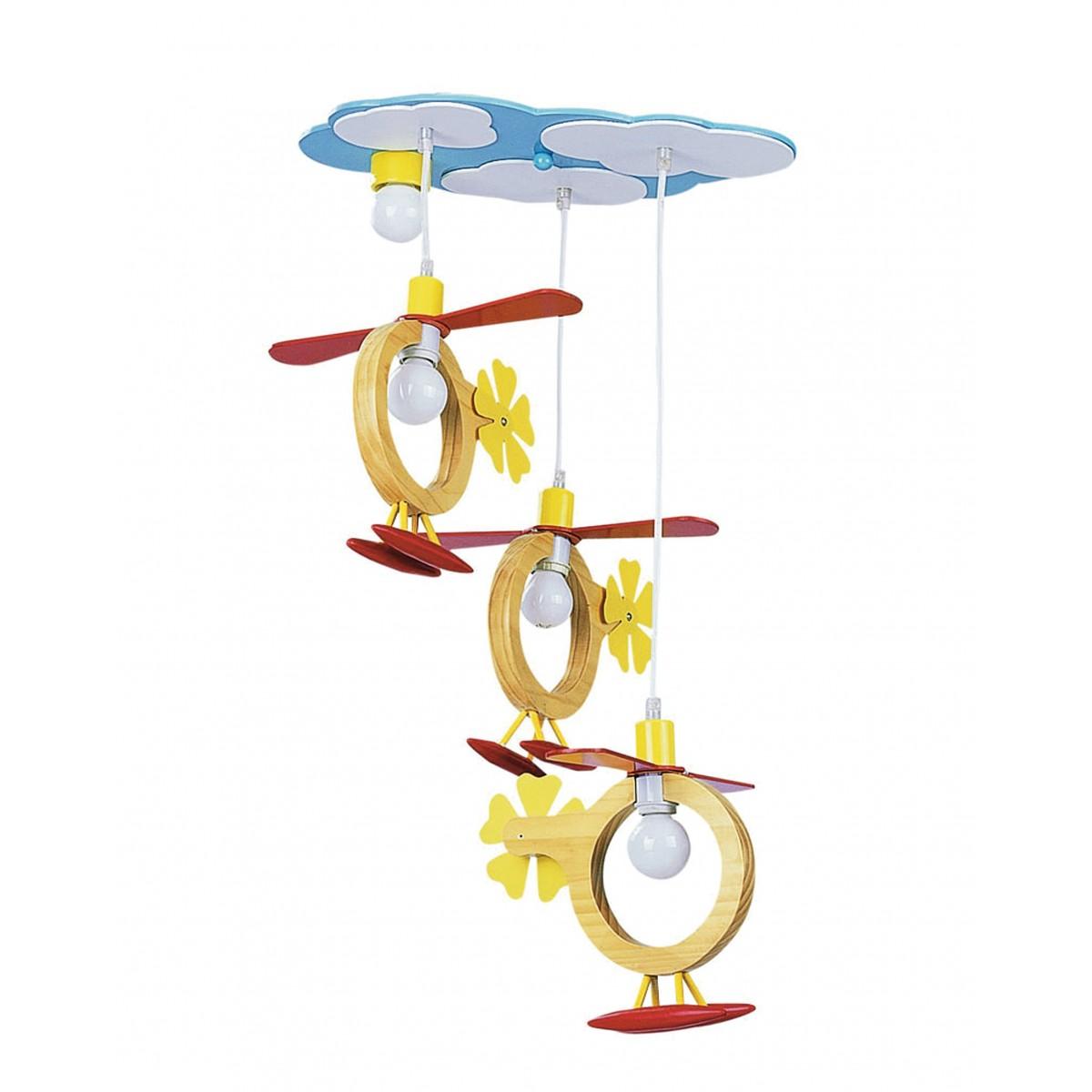 K-ELICHE / S3 - Lustre à 3 suspensions Hélicoptère en bois Chambre E14