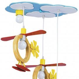 Lustre à hélice avec ciel et hélicoptères en bois FanEurope