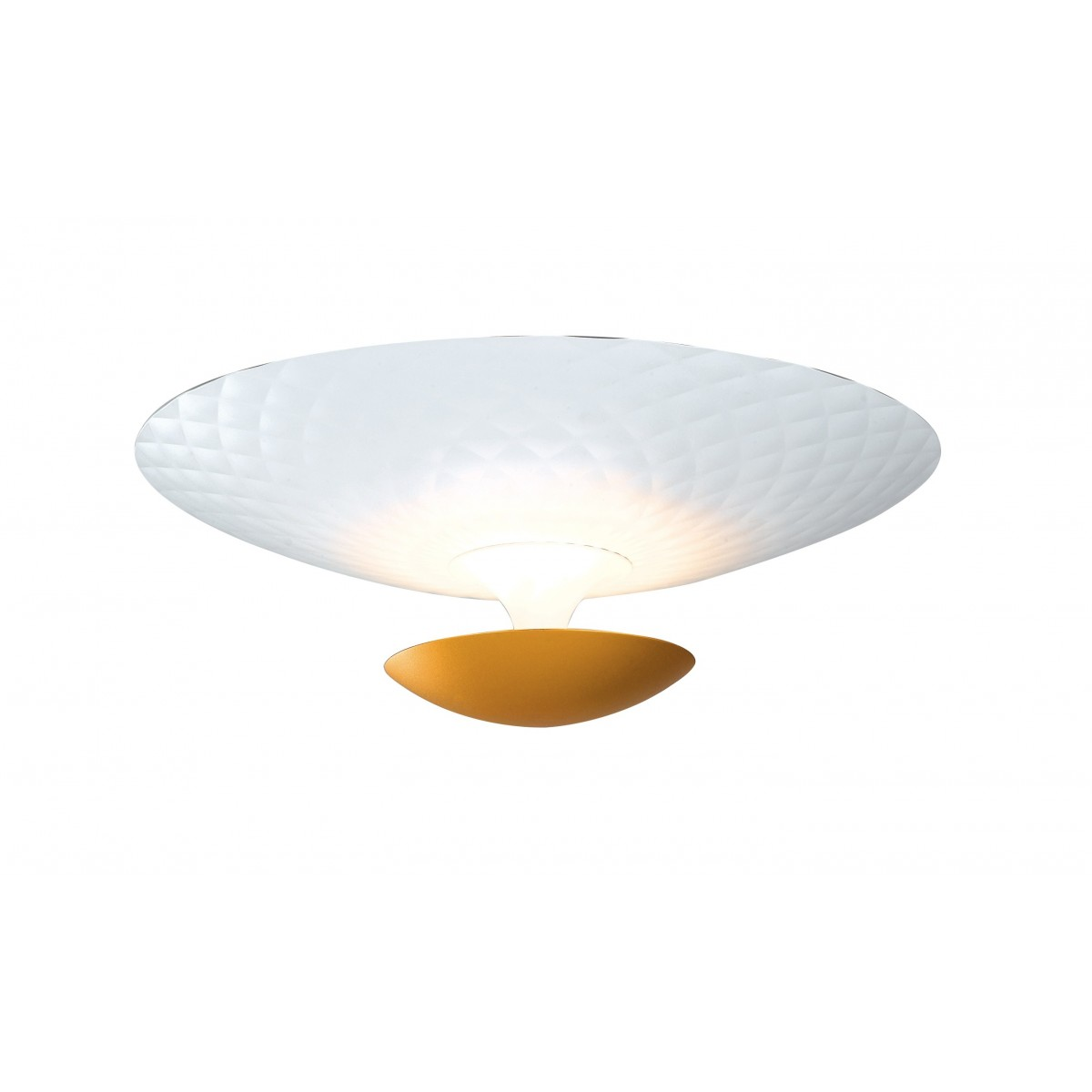 LED-HAMLET-PL55 - Plafoniera Cicolare Alluminio Bianco Oro Moderna Led 40 watt Luce Calda