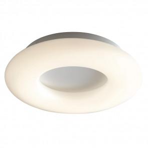 LED-MYLION-PL46- Plafoniera Bianca Metallo diffusore Anello Opale Moderna Led 24 watt Luce Naturale