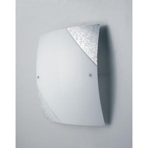 I-PARIS/4040 SIL - Plafoniera Moderna Quadrata Vetro Bianco Decoro Argento Soffitto Parete E27