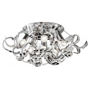 I-NABUCCO / PL6 - Plafonnier en métal Curls K9 Crystals Modern Lamp E14