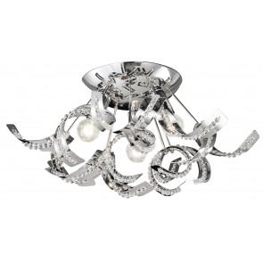 I-NABUCCO/PL3 - Plafoniera Cristalli K9 Metallo decoro riccioli Lampada Interno Moderno E14