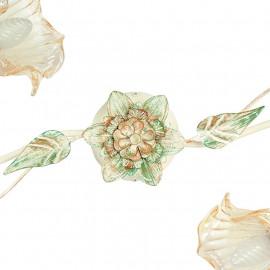 I-PRIMAVERA/PL2 - Decoro Floreale con Foglie in Metallo Dipinto a Mano Verde Oro