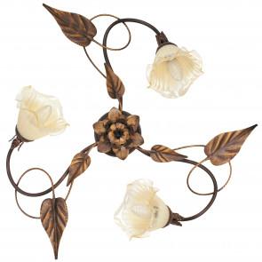 I-AUTUMN / PL3 - Plafonnier élégant cuivre métal fait main décoration florale classique diffuseurs en verre E14