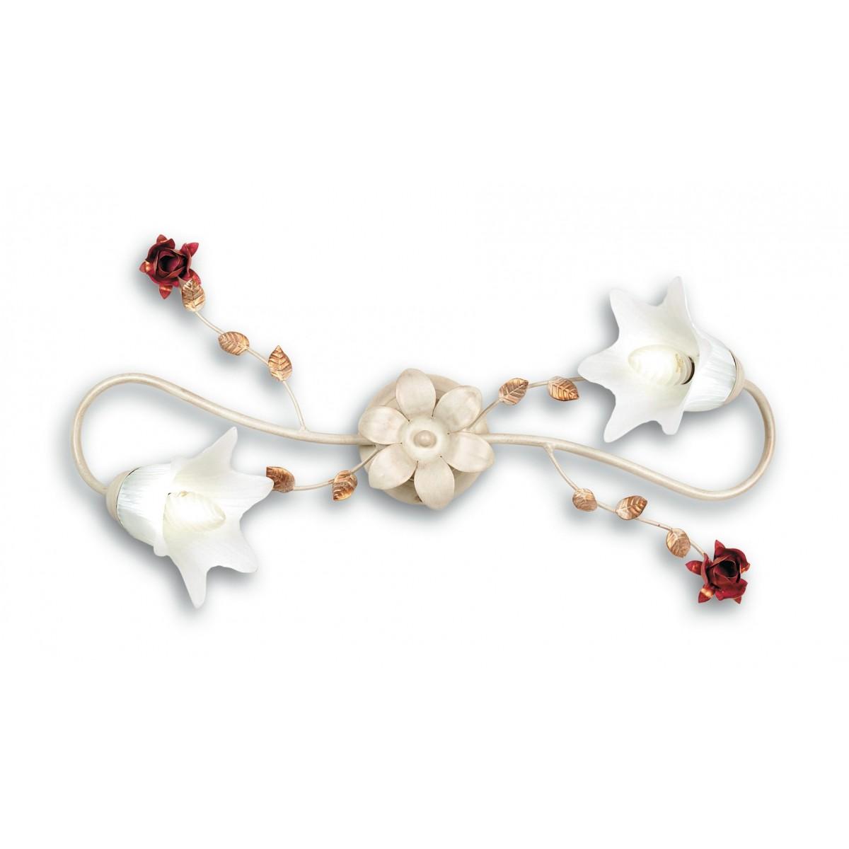 ROSE / PL2 - Plafonnier élégant Lampe classique en verre métal blanc Roses rouges E14