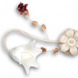 Plafonnier Rose en Métal Blanc avec Décoration Rose Rouge et Diffuseurs en Verre Fan Europe