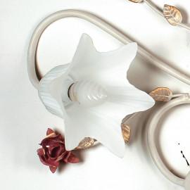 Diffuseur en verre floral Structure en métal blanc et décoration Rose rouge Ligne Rose