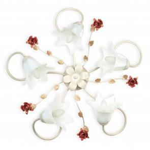 Plafonnier classique Métal Blanc Diffuseurs rouges Décoration en verre Rose Classica E14