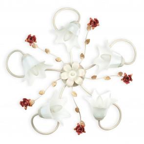ROSE / PL5 - Plafonnier Classique Diffuseurs Blanc Métal Rouge Décoration en verre Rose Classica E14
