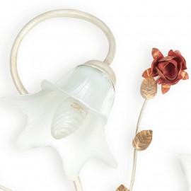 Diffuseur Floral en Verre Blanc avec Décoration Rose Rouge Ligne Rose