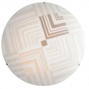 I-SEVENTY/PL30 - Plafoniera Tonda Decoro Frecce Vetro Bianco Lampada Moderna Interni E27