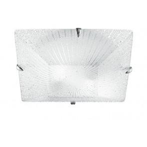 I-ISIDE/PL40 - Plafoniera Vetro Diamantato Quadrata decoro Raggi Moderna E27