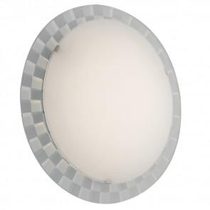 I-GLAMOUR/PL35R - Plafoniera Tonda Vetro Bianco Cornice Scacchi Led Soffito Parete 18 watt Luce Naturale