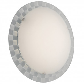 I-GLAMOUR/PL45R - Plafoniera Cornice Scacchi Tonda Vetro Bianco Interno Moderno Led 24 watt Luce Naturale