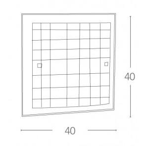 Plafonnier carré en verre blanc...