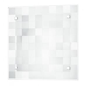 I-CHANEL/PL30 - Plafoniera Quadrata Vetro decoro Quadri Bianca Lampada Classica E27
