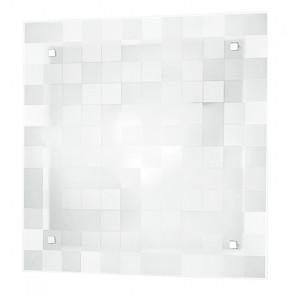 I-CHANEL / PL40 - Plafonnier blanc classique avec décoration murale carrée en verre au plafond E27