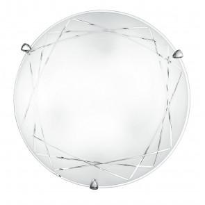 I-PARADISE / PL30 - Plafonnier rond gravé géométrique Lampe classique en verre satiné E27