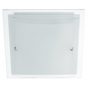 I-061228-1 - Plafoniera Quadrata Doppio Vetro Bianco Satinato Bordo Trasparente Moderna E27