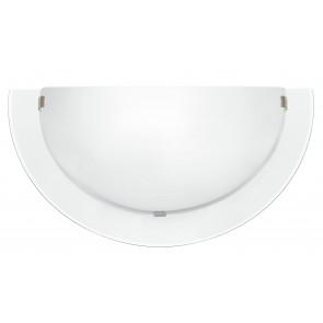 I-061228-9 - Applique Lunetta Bordo Trasparente Doppio Vetro Bianco Satinato Interno Moderno E27