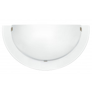 I-061228-9 - Applique Lunette Transparent Double Verre Blanc Satin Intérieur Moderne E27