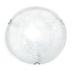 03/00712 - Plafonnier rond blanc classique en verre décoré intérieur E27