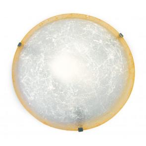 03/00812 - Plafonnier rond en verre décoré Amber Edge Classic Lamp Interior E27
