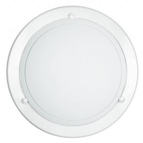 07/00300 - Plafonnier rond en verre blanc Cadre métal blanc Intérieur classique E27