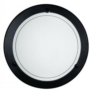 07/00600 - Plafoniera Cornice Metallo Nero Vetro Bianco Tonda Lampada Classica E27