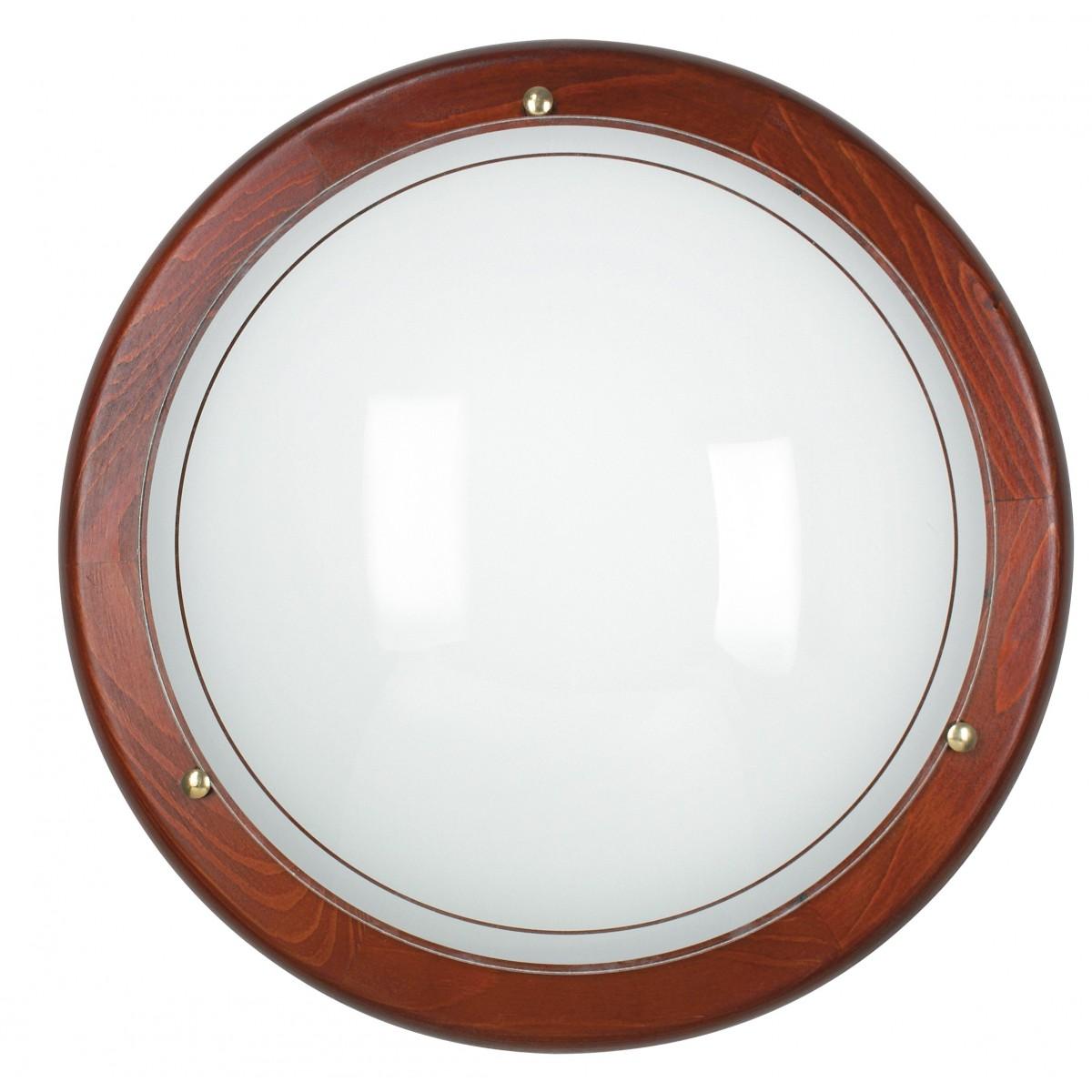 07 / 03812- Plafonnier rond en verre blanc avec cadre en bois Lampe classique E27