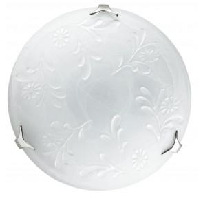 206/02700 - Plafonnier rond en verre albâtre blanc avec décoration florale blanche classique E27