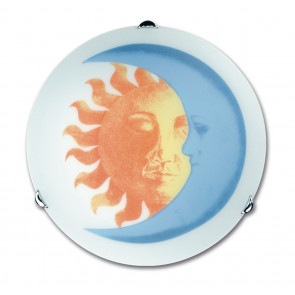 I-SOLE/PL30 - Plafoniera Tonda Disegno Sole Luna Vetro Bianco Lampada Cameretta E27