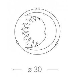 Plafoniera Tonda 30 cm in Vetro Azzurro con Sole Luna Disegnati FanEurope