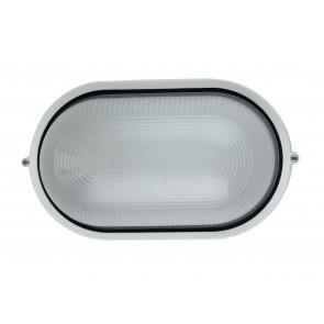 I-IBIZA-L-BCO - Plafoniera Ovale Alluminio Bianco diffusore Vetro Esterno Palestre E27
