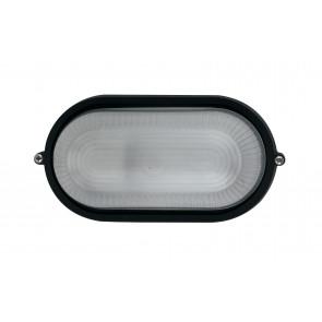 I-IBIZA-S-NERO - Plafoniera Alluminio Nero Ovale diffusore Vetro Impermeabile Esterno E27