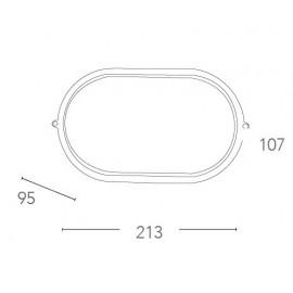 Plafoniera Ibiza Ovale 10,7x21,3 cm in Alluminio Nero e Diffusore in Vetro FanEurope
