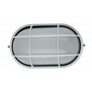 I-IBIZA-LP-BCO - Plafonnier ovale blanc avec grille extérieure en aluminium E27